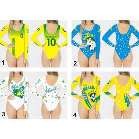 Kit 3 Bodys Manga Longa Brasil Copa Do Mundo 2018 Feminino