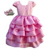 Vestido Princesa Realeza Bailarina Barbie Marsha Com Tiara