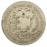 Moneda De Venezuela 5 Bolívares, Fuerte De Plata De 1889
