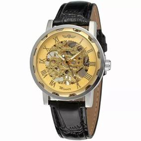 Relógio Masculino Pulseira De Couro Esqueleto Winner Em 12x
