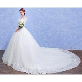 Vl23 Vestido De Noiva Lindo Princesa Renda Manga Importado