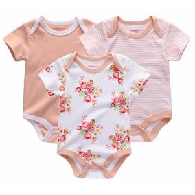 Kit 3 Body Bebê Feminino Manga Curta Algodão Cotton
