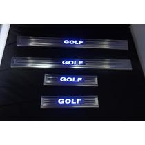 Soleira Inox Com Led Azul Vw Golf 7
