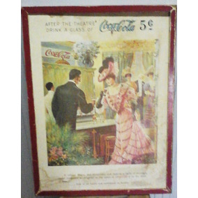 Antiguo Cartel Coca Cola Original En Papel Encuadrado