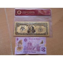Billete Laminado V Dollar Indio Oro 24k Certificado