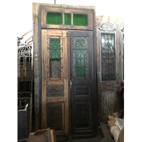 Antiga Porta De Duas Folhas Vitral Verde !! Código #580