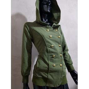 Sudadera Saco Para Dama Verde Militar