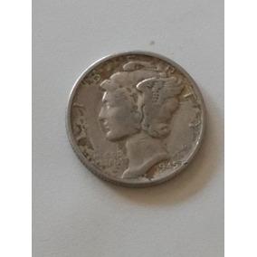 Moneda Estados Unidos 10 Centavos. Mercury Plata 900 1945