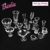 Kit 17 Miniaturas Boneca Barbie Copos Taças Cozinha Re-ment