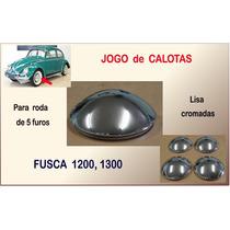 Calota Fusca 1200 1300 Roda 5 Furos Jogo Calotas Lisa Cromad