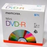 Cd Mini Dvd R Memorex Portatil 4x 1.4gb 30min. 5 Pack Lara