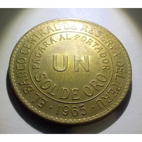 Peru Un Sol De Oro 1965 - Km#222 - Joya - Unc - Grande 33 Mm