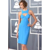 Vestido Sexy Azul Turqueza Con Aberturas Moda Elegante 6440