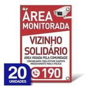 Placa Vizinho Solidário - Pvc 1mm - 20 Unidades - 20x30cm