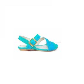 Natacha Zapato Mujer Sandalia Gamuza Verde Y Turquesa #1603
