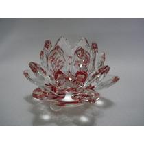 Flor De Lótus De Cristal Vermelha 9cm