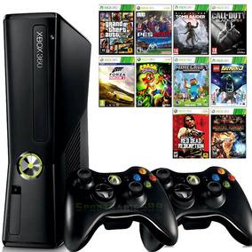 Xbox 360 Slim + 2 Controles + 10 Jogos + Joga Na Live