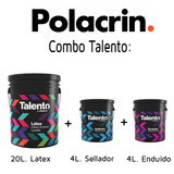 Pintura Latex Polacrin Talento 20 Lts + Fijador + Sellador