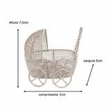 12 X Mini Carrinho Bebê Aramado Lembrancinha Maternidade