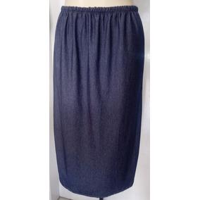 Saia Moda Evangélica Longuete Cor Azul Jeans Com Elastico
