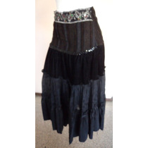 Falda Negra Plisada Con Adornos En Pretina Talla S Fag425