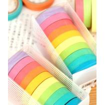 Kit Com 10 Fitas Washi Tape Coloridas De Papel