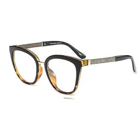 24d5a78b29ef0 Óculos Armação Olho De Gato Feminino Onça Preto