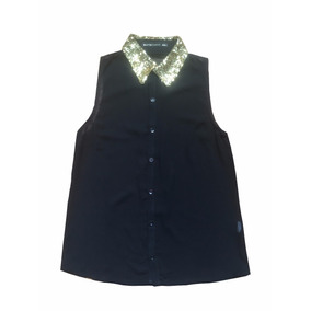 Camisa Animal Print Gasa Negra Con Lentejuelas Doradas Nueva