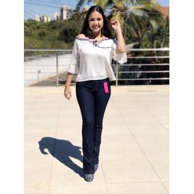 Calça Jeans Feminina Boca De Sino Flare Cós Alto Com Lycra