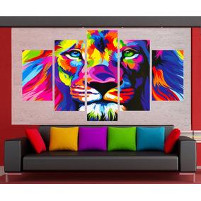 Cuadro Moderno Decorativo Sala Leon Color Listos Para Colgar