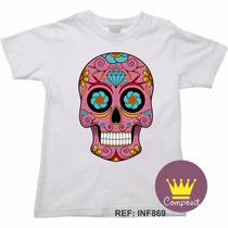 Camiseta Infantil Halloween Caveira Mexicana Cranio 02