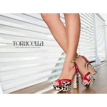 Sandália Torricella Cor Onça, Vermelho E Dourado
