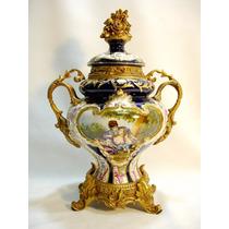Potiche Ou Ânfora Europeia Em Porcelana E Bronze Belíssima