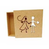 Kit 50 Caixas Noivinhos 8x8x5 Mdf Crú Lembrancinha Casamento