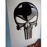 Emblema Resinado Calavera Justiciero Negro, Moto, Carro.
