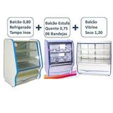 Balcao Refrigerado, Estufa Quente E Vitrine Seca Kit 3 Pecas