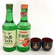 2 Bebida Coreana Soju Original E Sabor Morango/maçã +2 Copo