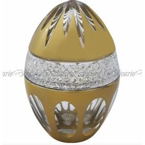 Ovo Bomboniere Pinha Grande Cristal Lapidado Bohemio Dourada