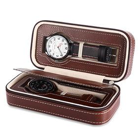 2 Rejillas Cuero Pu Reloj Viajes Caso Almacenamiento Cremall