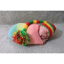 Newborn Reggae Rastafari Touca + Wrap Newborn Temática Jamai