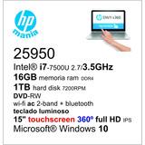 Notebook I7-7500u 2.7/16gb/1tb/dvd/wifi/15 Touch 360º