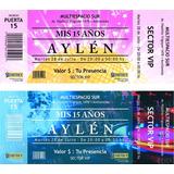Invitaciones Tipo Ticket 15 Y 18 Años Casamientos