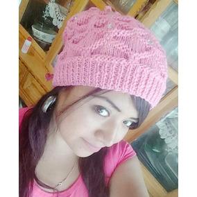 Gorro Tejido Cuello D Mujer Beanie 3 En 1 Crochet Terracota