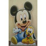1 Mickey Baby 80cm Chão Cenário Totem E 3 Displays Mesa 22cm