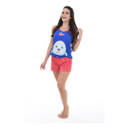 Short Doll Pijama Adulto Feminino Alça Fina Com Brinde
