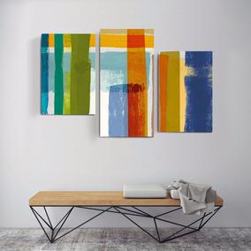 Cuadro Triptico En Canvas 120x80 Abstractos Modernos Minimal