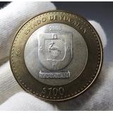 Moneda Mexicana Bimetálica Con Centro De Plata $100 Yucatán