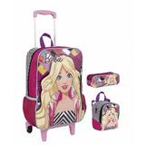 Mochila+lancheira+estojo - Kit Luxo Barbie 17m- Frete Gratis