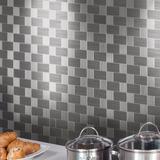 Pastilhas Adesivas Aço Inox Escovado Xadrez 30x30 Cm