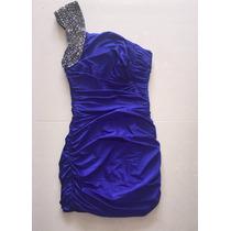 Vestido Azul Royal Azul Bic Um Obro Só Drapeado